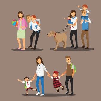 Famiglia felice insieme, personaggio dei cartoni animati dell'illustrazione.