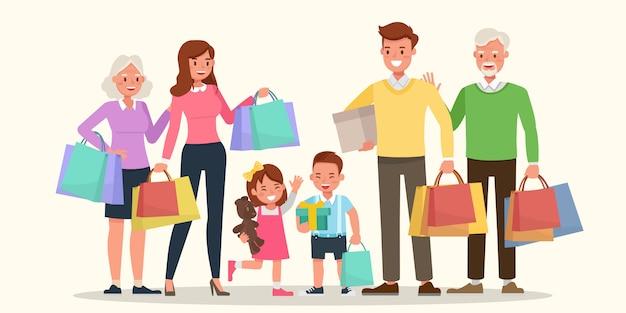 Famiglia felice shopping insieme.