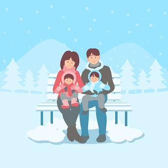 Famiglia felice che si siede su una panchina nello stile piano disegnato a mano del fumetto disegnato paesaggio innevato