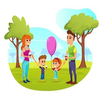 Famiglia felice tempo libero, genitori e figli a piedi