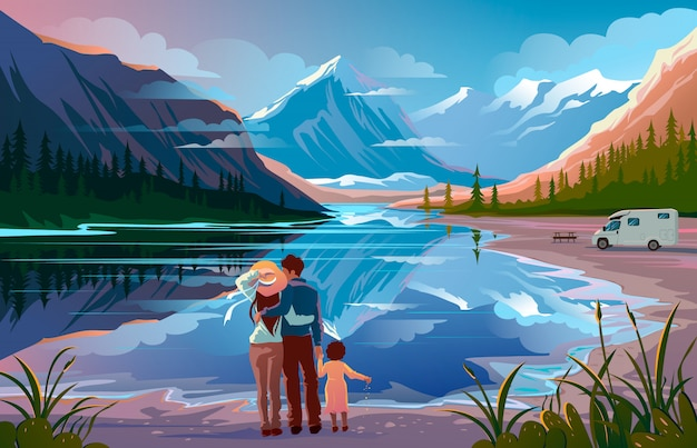 Famiglia felice in piedi vicino al lago che guarda lontano