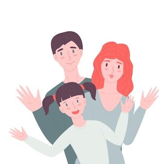 Famiglia felice in piedi insieme madre, padre e figlio, agitando la mano stock vector flat cartoon