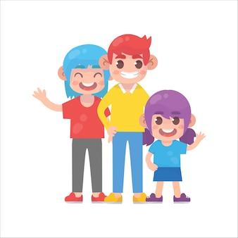 Famiglia felice che sta insieme