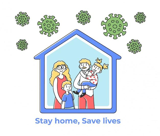Famiglia felice a casa durante l'epidemia di coronavirus