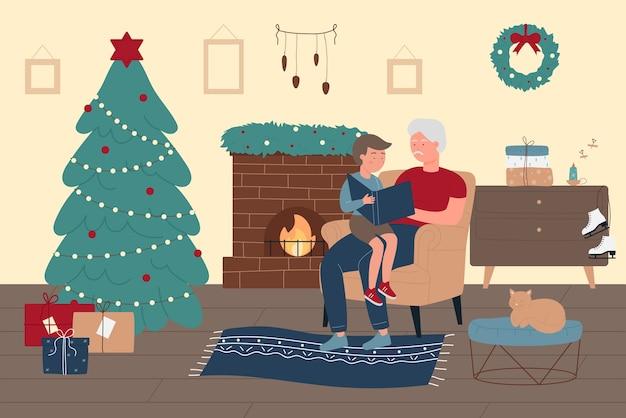 Tempo della famiglia felice a casa nell'illustrazione di vacanze invernali di natale.