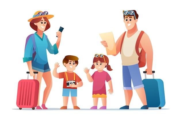 Personaggio viaggiatore famiglia felice