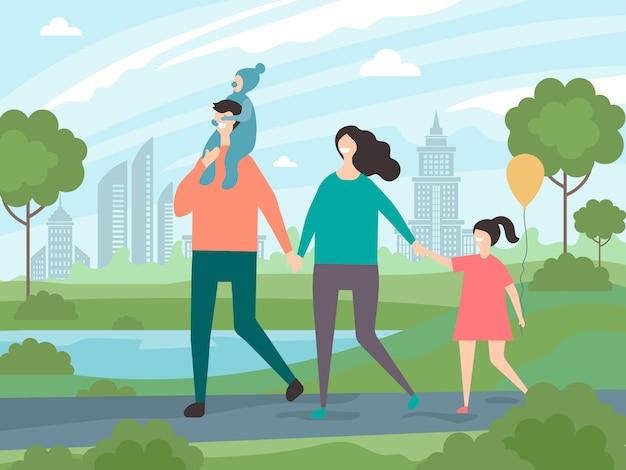 Famiglia felice che cammina. illustrazioni del fondo del maschio e della femmina con i bambini che camminano nel parco