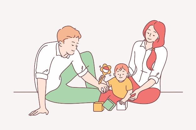 Famiglia felice con bambino, genitorialità, concetto di infanzia.