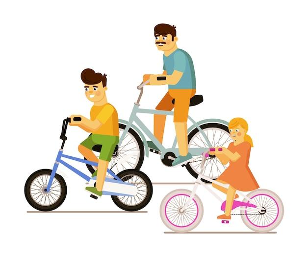 Famiglia felice con il padre, il figlio e la figlia che guidano la bicicletta insieme dell'illustrazione isolata su fondo bianco