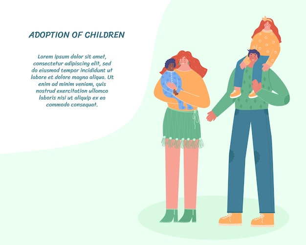 Famiglia felice con figli adottivi. la donna tiene il bambino in braccio. un uomo porta una figlia. illustrazione con posto per il testo.