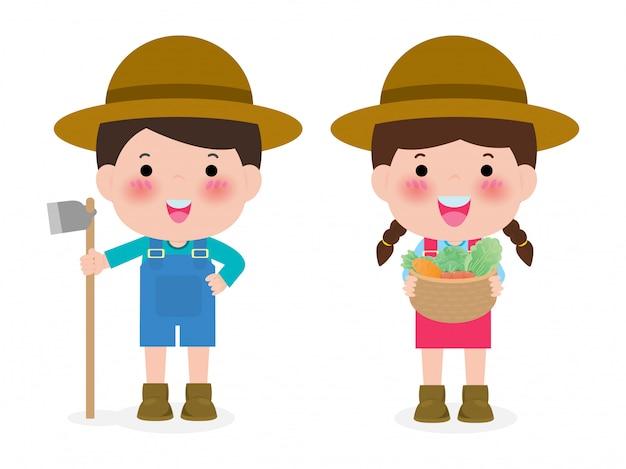 Piano felice degli agricoltori isolato su bianco. simpatici personaggi dei cartoni animati di uomo e donna agricoltura illustrazione.