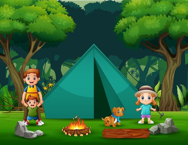 Padre felice e bambini che si accampano nell'illustrazione della foresta