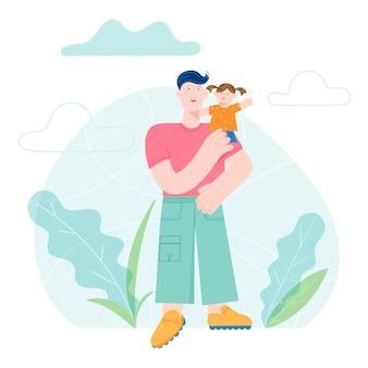 Scheda felice di concetto di festa del papà con il bambino sorridente della holding del carattere del papà. illustrazione alla moda moderna di vettore