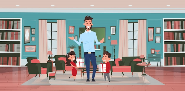 Felice festa del papà vacanza in famiglia figlia e figlio presentano regali per papà in salotto biglietto di auguri piatta