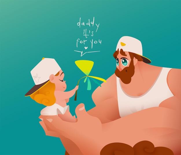 Cartolina d'auguri di felice festa del papà con il padre che tiene il suo bambino