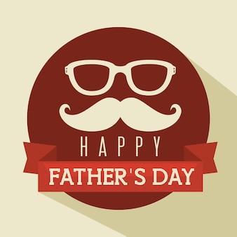 Cartellino rosso felice giorno padre con baffi e occhiali