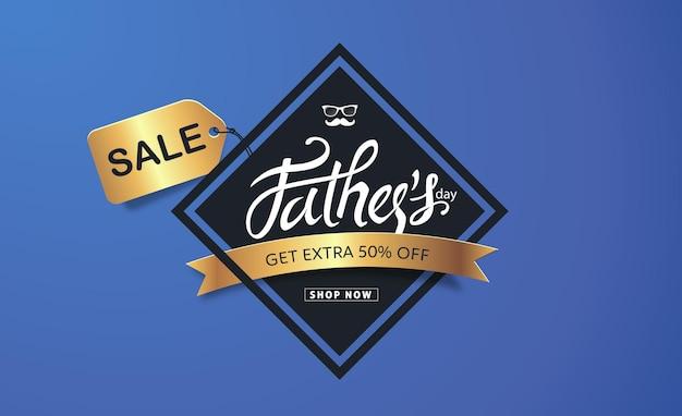 Saluto di calligrafia di festa del papà felice e banner di vendita