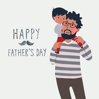 Carta di giorno del padre felice. ragazzino sveglio sulla spalla di suo padre.