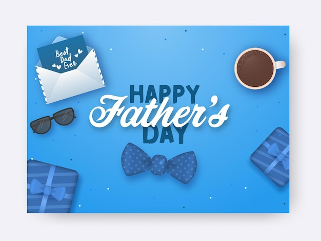 Concetto di festa del papà felice con vista dall'alto di busta, occhiali da vista, papillon, scatole regalo e tazza da tè su sfondo blu.