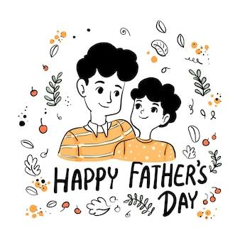 Felice festa del papà papà e figlio indossano una maglietta di colore arancione isolata in una cornice floreale su sfondo bianco Vettore Premium