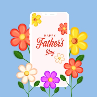Carattere di festa del papà felice nello schermo dello smartphone con fiori colorati decorati su sfondo blu.