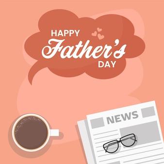 Carattere di festa del papà felice con vista dall'alto della tazza di tè, occhiali e giornale su sfondo pesca.