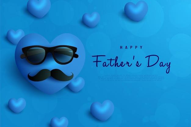Felice festa del papà cuore baffi e occhiali su blu scuro