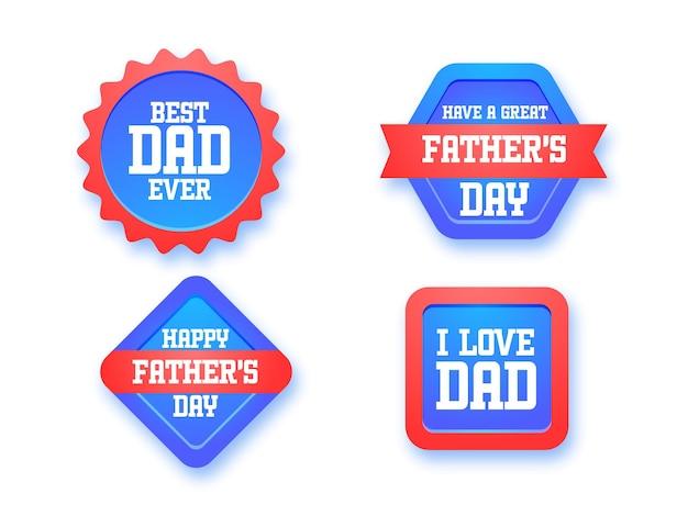 Etichetta o distintivo del messaggio di festa del papà felice, appiccicoso nel colore blu e rosso.