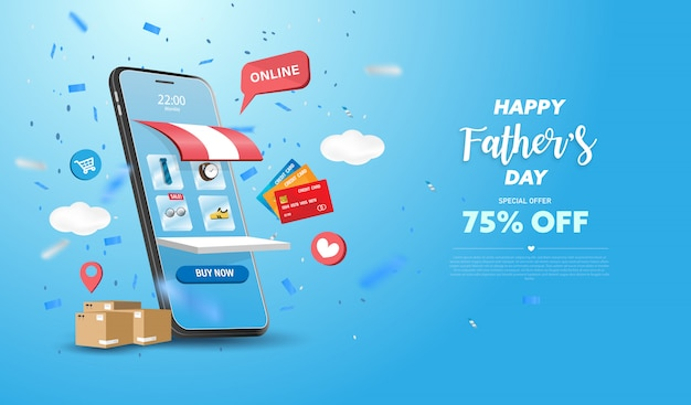 Insegna o promozione felice di vendita di festa del papà su fondo blu. negozio di shopping online con cellulare, carte di credito ed elementi del negozio