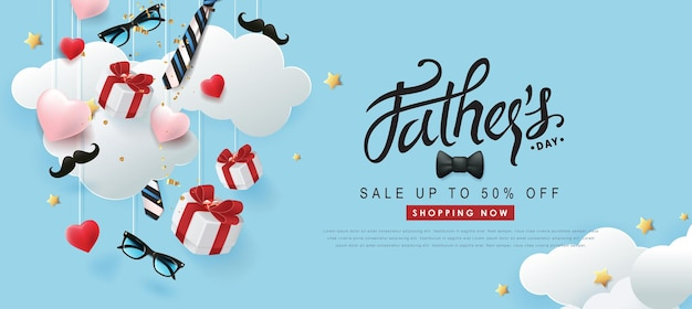 Bandiera di vendita di festa del papà felice