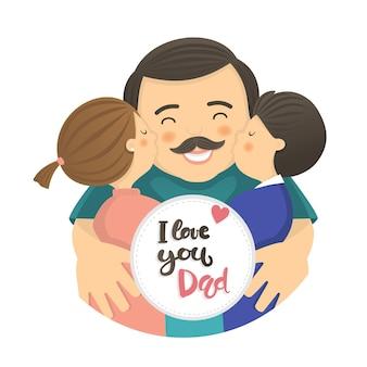 Scena del papà felice con papà e due bambini
