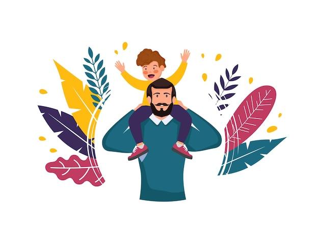 Buona festa del papà con uomo e figlio sulle spalle