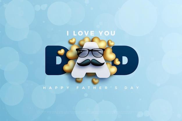 Buona festa del papà con baffi e occhiali davanti alla lettera a.
