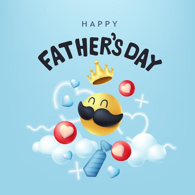 Bandiera di giorno di padri felice con smiley baffi