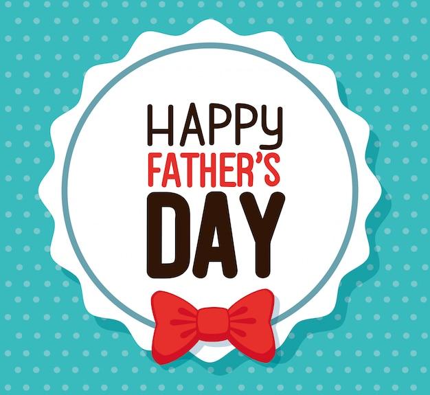 Carta del papà felice con farfallino in cornice circolare