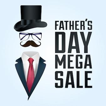 Scheda di giorno di padri felice con abito da uomo e accessori