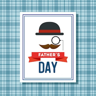 Biglietto per la festa del papà felice con baffi e cappello elegante