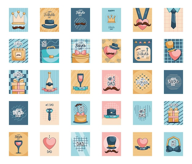 Insieme dell'icona di carte di giorno di padri felice