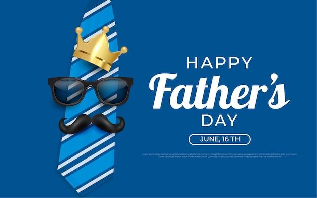 Felice giorno di padri corona e baffi illustrazioni di sfondo in blu