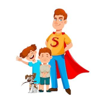 Felice giorno di padri papà in costume da supereroe sta con suo figlio e sua figlia