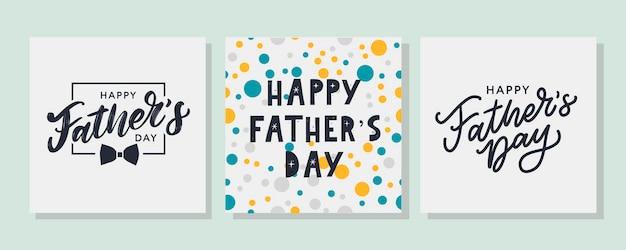 Felice giorno di padri lettering banner vendita pennello pattern di testo