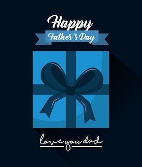 Giorno di padri felice ti amo nastro regalo scatola di papà vista dall'alto