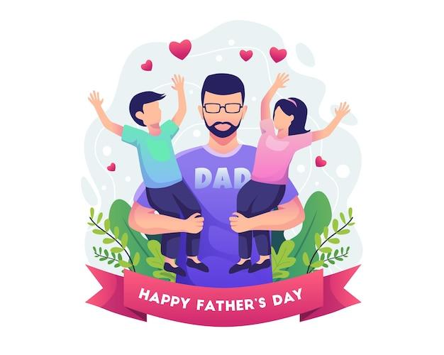 Buona festa del papà con il padre che tiene in braccio l'illustrazione dei suoi due figli