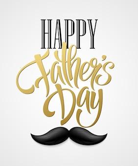 Buona festa del papà con scritte di saluto e baffi. eps10
