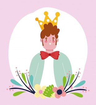 Felice festa del papà, giovane papà con corona e farfallino cartoon