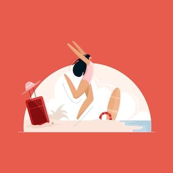 Felice femmina che salta di gioia sulla spiaggia viaggiare e concetto di vacanza estiva