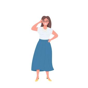 Femmina felice con carattere dettagliato di colore piatto occhiali