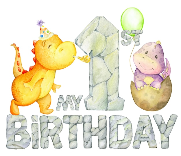 Buon primo compleanno. dinosauri, lettere di pietra, un palloncino. concetto di acquerello in stile cartone animato su uno sfondo isolato.