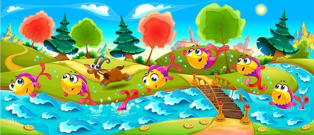 Happy fish balla nel fiume