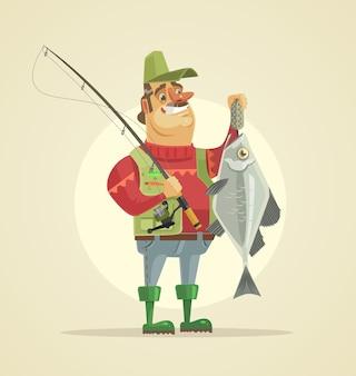 Il carattere del pescatore felice tiene i pesci grandi. illustrazione di cartone animato piatto vettoriale